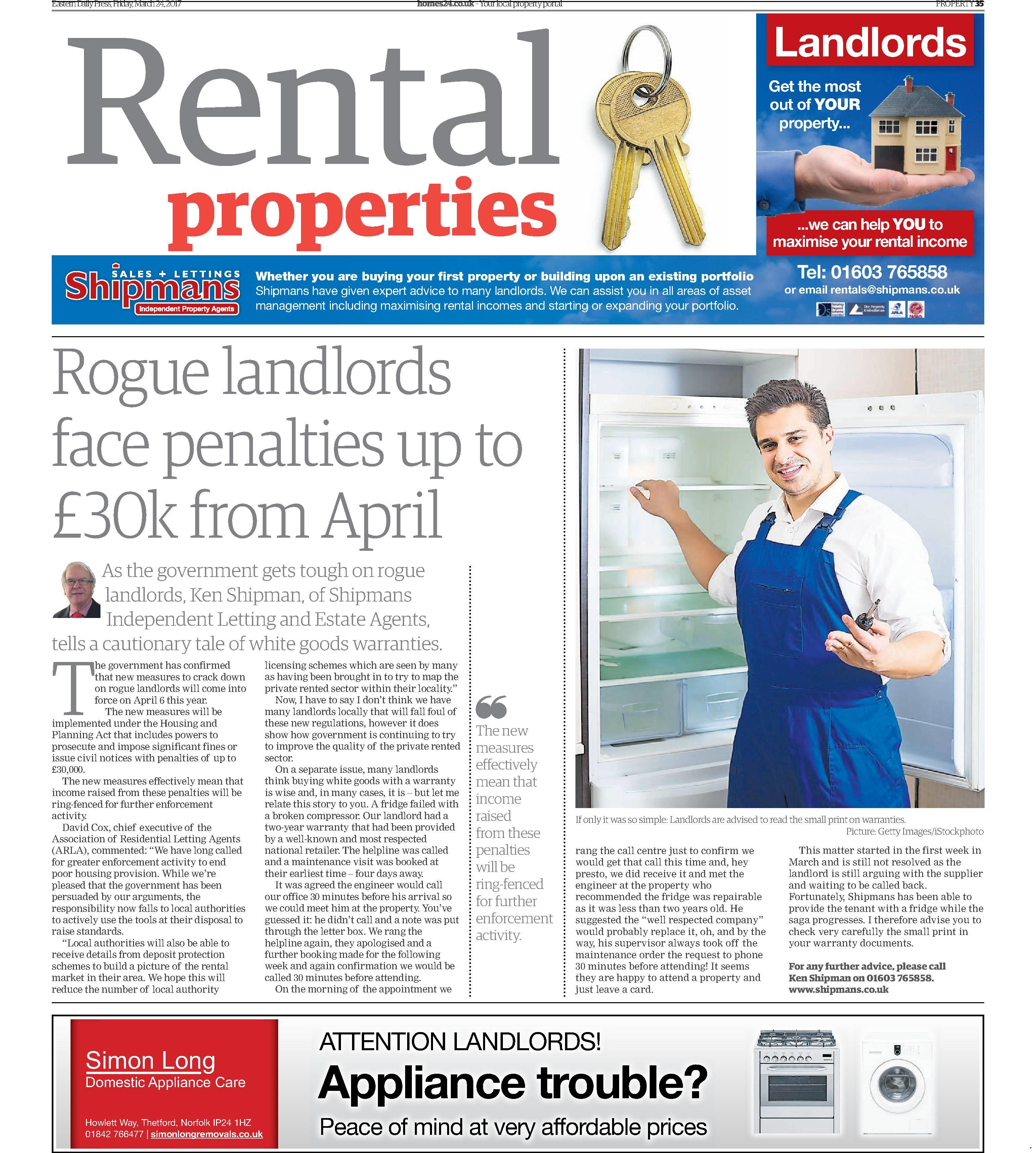 Rogue landlords face penalties up to £30k from April